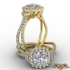 Halo Three Stone Claw Prong Cushion diamond  Ring in 14k Gold Yellow