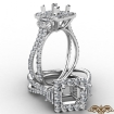 Three Stone Princess Semi Mount 14k White Gold Halo Diamond Engagement Ring 1.1Ct - javda.com
