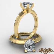 Knife Edge Solitaire Cushion diamond  Ring in 14k Gold Yellow