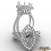 3 Stone Marquise Semi Mount Baguette Halo Diamond Engagement Ring 14k White Gold 1.1Ct - javda.com