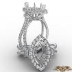 3 Stone Marquise Semi Mount Baguette Halo Diamond Engagement Ring 14k White Gold 1.1Ct - javda.com