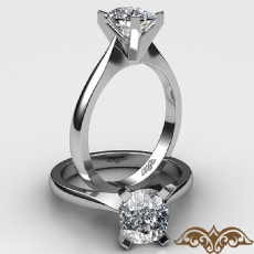 Tapered Solitaire Cushion diamond  Ring in 18k Gold White