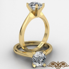 Tapered Solitaire Cushion diamond  Ring in 14k Gold Yellow