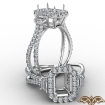 Three Stone Halo Diamond Emerald Cut Semi Mount Engagement Ring 14k White Gold 1.1Ct - javda.com