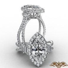 French Pave Halo Three Stone Marquise diamond  Ring in 18k Gold White
