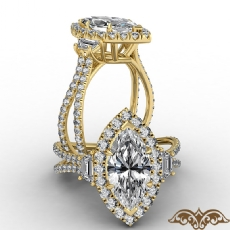French Pave Halo Three Stone Marquise diamond  Ring in 14k Gold Yellow