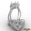 3 Three Stone Heart Semi Mount Halo Diamond Engagement Ring 14k White Gold 1.05Ct - javda.com