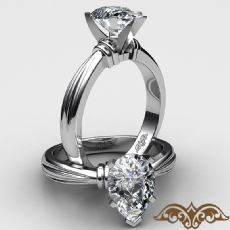 Ridged Solitaire diamond Ring 14k Gold White