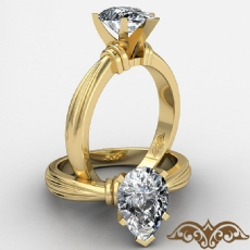 Ridged Solitaire Pear diamond  Ring in 18k Gold Yellow