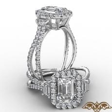 Halo Three Stone Split Shank diamond Ring 14k Gold White