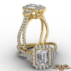 Halo Three Stone Split Shank Emerald diamond  Ring in 14k Gold Yellow