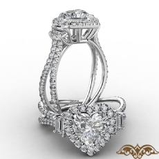 Halo Three Stone French U Pave Heart diamond  Ring in 18k Gold White