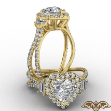 Halo Three Stone French U Pave Heart diamond  Ring in 14k Gold Yellow