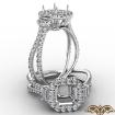 3 Stone Asscher Semi Mount Halo Baguette Diamond Engagement Ring 14k White Gold 1.1Ct - javda.com