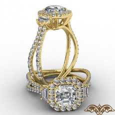 Claw Prong Three Stone Halo Asscher diamond  Ring in 18k Gold Yellow