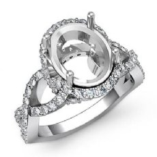 1.10 Ct Diamond Engagement Ring Halo Pave Setting 14k White Gold Oval Semi Mount