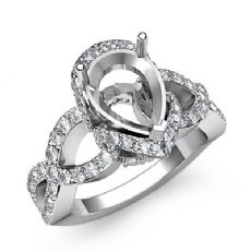 0.8CT Diamond Engagement Halo Pave Setting Ring Pear Semi Mount 14K White Gold
