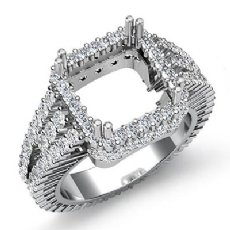 2.50Ct Halo Setting Diamond Engagement Princess Semi Mount Ring 14K White Gold