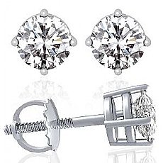 1/4 Ct. Round Diamond Stud Earring 14k White Gold