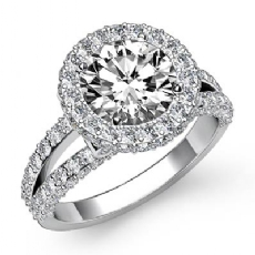 Circa Halo Split Shank Pave Round diamond engagement Ring in 14k Gold White