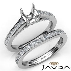 Cushion Diamond Engagement Semi Mount Ring Bridal Sets 14K White Gold 1.25Ct.