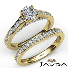 Accent Bridge Pave Bridal Cushion diamond engagement Ring in 14k Gold Yellow