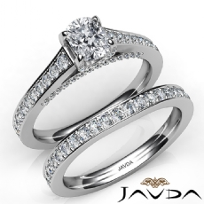 Accent Bridge Pave Bridal Cushion diamond engagement Ring in 14k Gold White