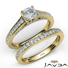 Pave Bridge Accent Bridal Cushion diamond engagement Ring in 14k Gold Yellow