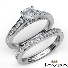 Pave Bridge Accent Bridal Cushion diamond engagement Ring in 14k Gold White