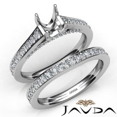 Oval Pave Diamond Engagement Semi Mount Ring Bridal Sets 14K White Gold 1.25Ct.