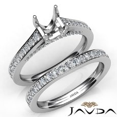 Princess Diamond Engagement Semi Mount Ring Bridal Sets 14K White Gold 1.25Ct.