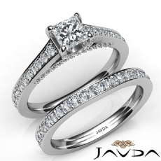 Accent Bridge Pave Bridal Princess diamond engagement Ring in 14k Gold White