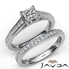 Accent Bridge Pave Bridal Set Princess diamond engagement Ring in 14k Gold White