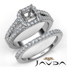 U Prong Diamond Engagement Semi Mount Ring Asscher Bridal Set 14K W Gold 1.25Ct