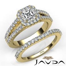 Split Shank Halo Bridal Set Asscher diamond  Ring in 14k Gold Yellow