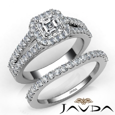 Halo Split Shank Bridal Set Asscher diamond engagement Ring in 14k Gold White