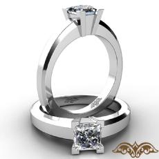 European shank Solitaire diamond Ring 14k Gold White