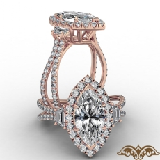 Baguette Three Stone Halo Pave Marquise diamond  Ring in 18k Rose Gold