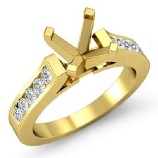 Round Diamond Engagement Ring Channel Setting 18k Gold Yellow Semi Mount (0.5Ct. tw.)