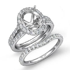 1.80C Oval Halo Diamond Semi Mount Engagement Wedding Ring Bridal Set 14k W Gold