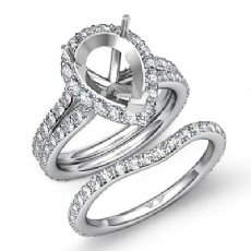 1.80C Pear Halo Diamond Semi Mount Engagement Wedding Ring Bridal Set 14K W Gold
