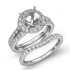 2.1C Round Halo Diamond Semi Mount Engagement Wedding Ring Bridal Set 14K W Gold