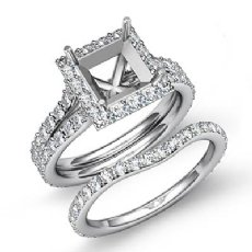 1.88Ct Princess Diamond Semi Mount Engagement Wedding Ring Bridal Set 14K W Gold