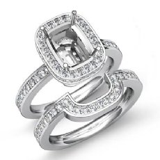 1.3Ct Diamond Cushion Wedding Band Semi Mount Ring 14K White Gold Bridal Setting