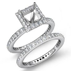 1.28C Halo Diamond Engagement Ring Princess Bridal Set 14K White Gold Semi Mount