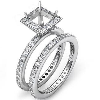 Halo Diamond Engagement Ring Princess Bridal Set 14k Gold