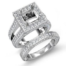 3.75Ct Vintage Diamond Engagement Ring Princess Semi Mount Bridal Set 14K W Gold