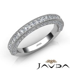 Pave Diamond Milgrain Wedding Band Matching Set 14k White Gold 2.5mm Ring 0.50Ct