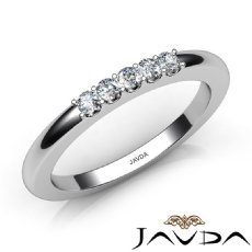 Round Diamond Half Wedding Women Matching Band 14k White Gold 1.9mm Ring 0.20Ct