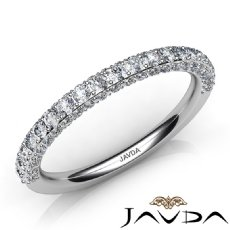 Women's Matching Half Wedding Band Pave Diamond 2.3mm Ring 14k White Gold 1.0Ct